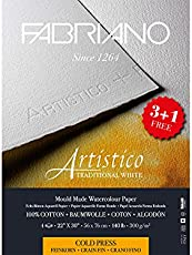 Fabriano Artistico Traditional White Watercolour Paper Cold Pressed 300 gsm (3+1 free) 22 inch X 30 inch