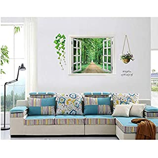 fqz93in Wallpaper Wall Sticker Mural Window Sticker Stickers Wall Sticker Window Avenue Green Vision Home Decor Removable Vinyl Decals