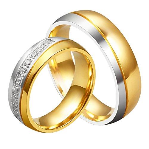 AnazoZ Anillo De Suya y Mujeres Amor Titanio 18K Chapado En Oro Banda De Boda Compromiso 6mm Tamaño 20