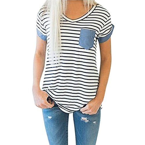 Moonuy,Frauen Kurzarm-Oberteile, 2018 Mode V-Ausschnitt Damen Striped Patchwork Bluse Kleidung T-Shirt mit Taschen Bleistift Pullover Freizeit Sweatshirt für Frauen (EU 36 / Asien M, Weiß) - Kleidung Toms