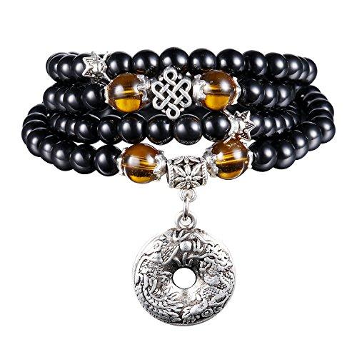 7d58ee1f9755 108 Collar de Múltiples Capas Budista Tibetano de la Piedra de la  Meditación de la Pulsera