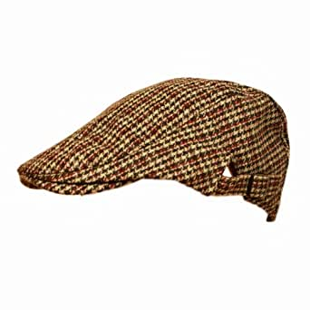 Mens Tweed Flat Cap with adjustable sizing strap BEIGE CHECK