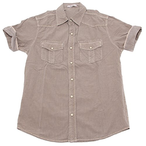 7223P camicia uomo tortora BERNA manica corta shirt men short sleeves [XL]