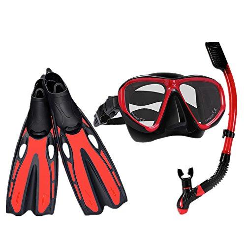 EODUDO-S Tauchmaske aus gehärtetem Glas und Trockenschnorchel für Erwachsene, Männer und Frauen Scuba Snorkel Set Einstellbare Tauchflossen, Weitere Stile (Farbe : Rot, Größe : S)