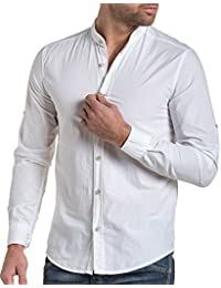 BLZ jeans - Chemise homme blanche col mao