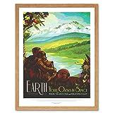 Earth Space Oasis NASA Space Tours Travel Art Print Framed Poster Wall Decor 12x16 inch Spazio Spazio Viaggio Manifesto Parete