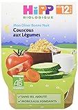Hipp Biologique Mon Dîner Bonne Nuit Couscous aux Legumes des 12 mois - 2x220grs - pack de 4