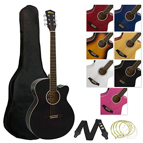 Tiger ACG4-BK Elektro-Akustische Gitarre-Set - Schwarz