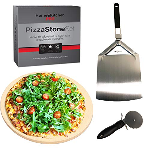 Professional Pizza Stone Set - Cordierite Pizza Stone, Pizza Paddle and Cutter. Perfect for Baking Pizza, Bread or Muffins. BBQ Pizza Stone, Oven Pizza Stone