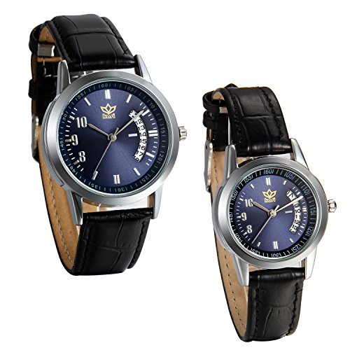JewelryWe Damen Herren Armbanduhr, Kalender analog Quarz Uhr, mit Digital Blau Zifferblatt partneruhren, Leder, Legierung, Lieben, Schwarz