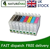 8 Refillable Refill ink cartridge to replace Epson R800 R1800 printer T0541 T0542 T0543 T0544 T0547 T0548 T0549 T0540 by Natureinks