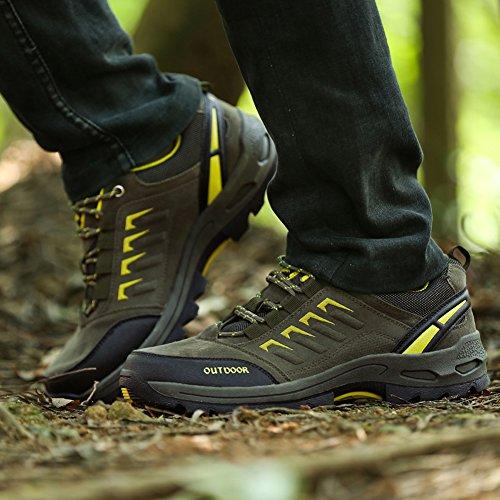 GOMNEAR Chaussures de Randonnée Hommes Femmes Cuir Respirant Walking Outdoor Trail Sneaker D'Escalade Pour Camping Athletic Running Sport Chaussures de Voyage armée verte