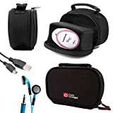 DURAGADGET Black Neoprene Lightweight Zip-Locked Carry Case - Compatible with the AngelSounds Fetal Doppler Baby Heart Monitor - Includes USB Data Cable and Novelty LED Blue Flashing Earphones