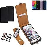 K-S-Trade Flipstyle Hülle für LG Electronics Q7 Alfa Handyhülle Schutzhülle Tasche Handytasche Case Schutz Hülle + integrierter Bumper Kameraschutz, schwarz (1x)