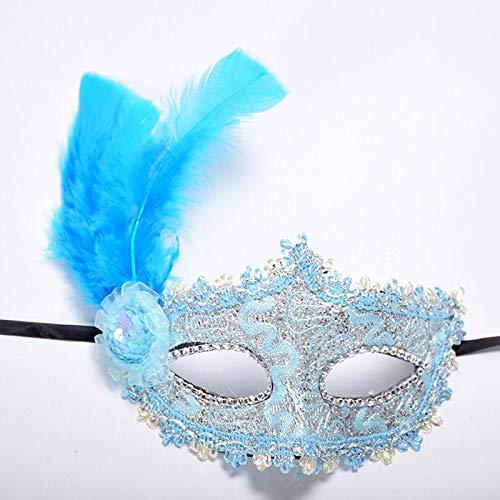 GTFHUH 1 stück Frauen Sexy Venezianische Spitze Feder Blume Augenmasken Halloween Maskerade Maske Mädchen Half Face Party Dance Maske,2