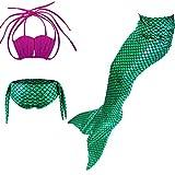 Le SSara Ragazze Cantoe Cosplay Costumi da bagno sirena Shell Swimsuit 3pcs Bikini set (110, A rosso+verde)