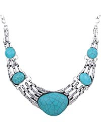 YAZILIND Silver Plated Elegant Turquoise Statement Collar Necklace