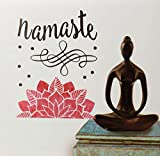 Momentum Brands Room Wall Sticker | Namaste Text and Lotus Flower | DIY Self Sticking Vinyl | Creative Decal | Peel and Stick