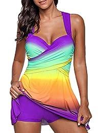 Mujer Tankinis Color De Degradado Bikini Conjuntos De Dos Piezas Correa De Hombro Doble Vestido De