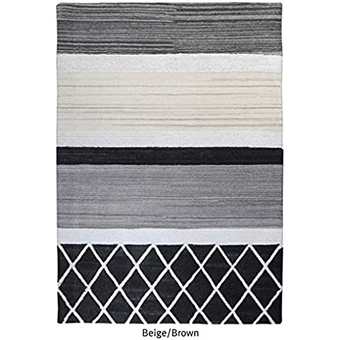 La República alfombra hecha a mano Beige y marrón piel estilo–Alfombra (230x 160cm),