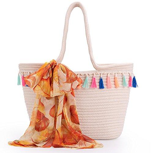 LONGBLE Damen Strandtasche + Orange Schal Handtaschen Umhängetasche mit Seidentuch Groß Taschen Handgefertigte mit Mehrfarbig Quasten Hobo Schultertasche Strohtasche Shopper Geschenk