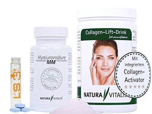 Natura Vitalis Collagen Drink-800g + 120 Hyaluronsäure MM Presslinge + Hyaluron 2ml