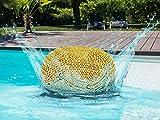 casamia Outdoor-Pouf Sitzpouf Sitzpuff 100% wasserfest Grobstrick-Optik Ø 55 cm extrahoch Höhe 37 cm gelb - Freesia