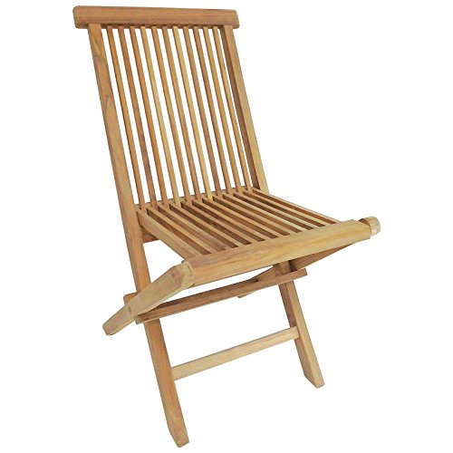 Charles Bentley Pair of Solid Wooden Teak Outdoor Folding Garden Patio Chairs - Waterproof Compact Classic Design