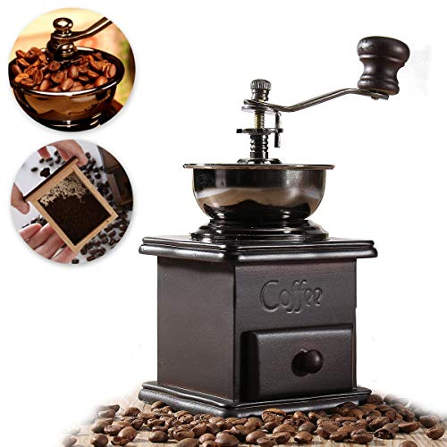 DyNamic Manual Coffee Bean Grinder Spice Kräuter Vintage Retro Hand Schleifwerkzeug Wooden Burr Mill Vintage Coffee Grinder