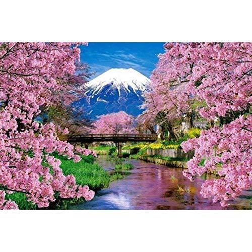 WDXJZSH DIY Diamant Stickerei Mount Fuji Diamant Malerei Kirschblüten Volle Runde Bohrer Strass Dekoration -