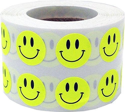 Fluoreszierend Gelb Glücklich Gesicht Kreis Punkt Aufkleber, 13 mm 1/2 Zoll Runde, 1000 Etiketten auf einer Rolle