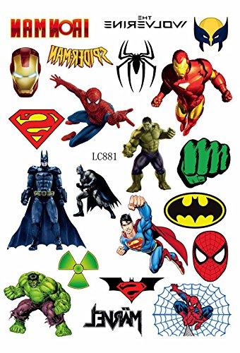 Kinder Tattoos Superheld Iron Man Wolverine Spiderman Superman Batman (Superhelden Marvel Dress)