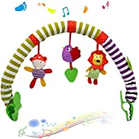 Bingcute Activity Arch with Rattle Toys 0 Month + Universal Attachment Clips Fit any Pram Pushchair or Baby Car Seat Meadow Days Activity Cloth Animal Toy Pram Activity Bar with Rattle/ Squeak