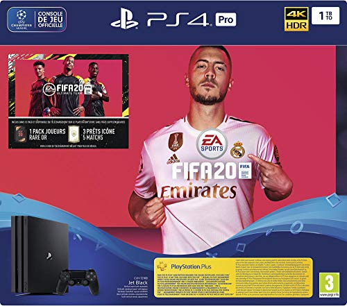 Sony PlayStation 4 Pro 1 To + FIFA 20 + PS Plus 14 Jours, 1 Manette Sans Fil Dualshock 4 V2, Châssis G, Noir (Jet Black), Art : 9979609