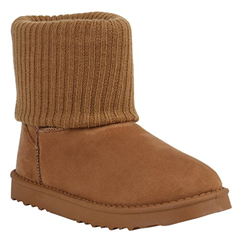 Bootsparadies Donna Stivaletti Antiscivolo Stivali Caldi Foderati Stivali Scarpe Flandell Marrone Chiaro Maglia