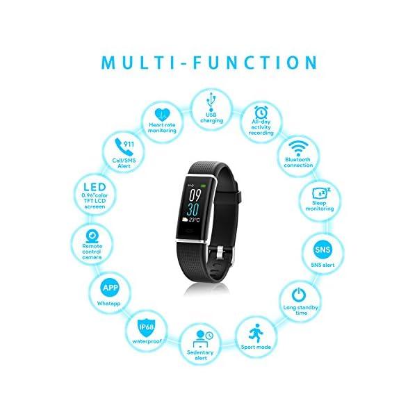 NAIXUES Smartwatch, Reloj Inteligente IP67 con Presión Arterial, 10 Modos de Deporte, Pulsómetro, Monitor de Sueño, Notificaciones Inteligentes, Smartwatch Hombre Mujer para iOS y Android (negro2) 2