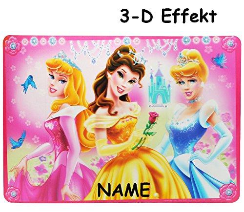 alles-meine.de GmbH 3-D Effekt - XL - Mal & Bastel & Knet - Unterlage / Platzdeckchen -  Disney Princess - Prinzessin  - incl. Name - 55 cm * ()