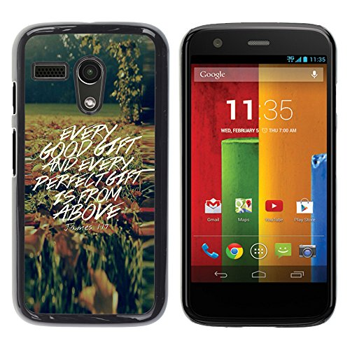 e Bild Hart Handy SchutzHülle Hülle Schale Case Cover Etui für MOTOROLA MOTO G ( 1st Gen only ) - JONES 1:17 EVERY GOOD GIFT IS FROM ABOVE ()