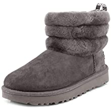UGG Female Fluff Mini Quilted Classic Boot, Charcoal, 6 (UK)