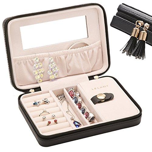 Reise Schmuck Box Kleiner Schmuck Box Tragbarer Schmuck Box Case für Ringe Ohrringe Armbänder Kleine Uhren und Halsketten Geschenke für Frauen, mittlere Größe, Schwarz von lelady (Uhr Armband-box Und)