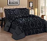 Luxury Damask Flock Comforter Set - Set di lenzuola, 3 pezzi, inclusi copriletto trapuntato e 2 federe, Poliestere, nero, King
