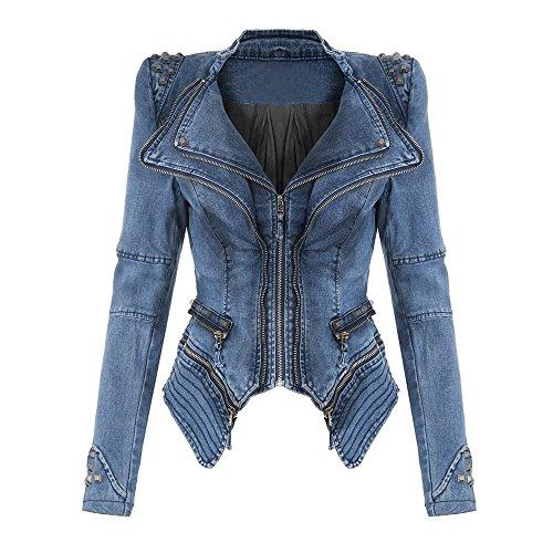 Juleya Damen Vintage Nieten Jeansjacke Sexy Rock und Punk Reißverschluss Jacken mit Schulterpolster Kurze Jeans Jacke Mantel Oberteil Blazer -