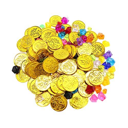 Toyvian 200 stücke Pirat Spielzeug Goldmünzen und Piraten Edelsteine Schmuck Spielset Pack Parteibevorzugung