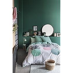 TODAY Ananas Parure de Couette, Coton, Blanc/Vert/Rose, 240 x 220 cm