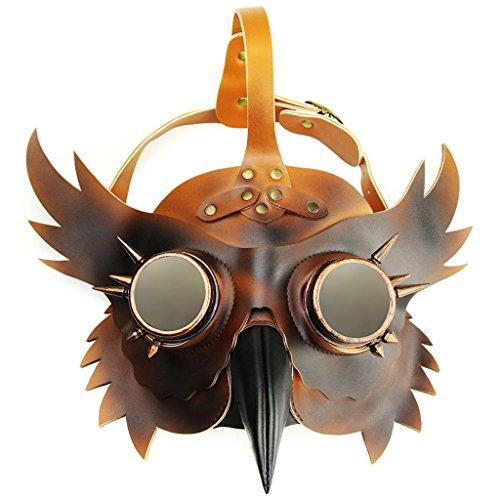 MagiDeal Erwachsene Schnabelmaske Prop Halloween Steampunk Kostüm PU-Leder Eule Stil