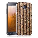 kwmobile Cover per Samsung Galaxy J5 (2015) - Custodia in silicone TPU - Back case protezione posteriore per cellulare Design striatura riciclata multicolore nero marrone chiaro