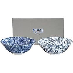 Tokyo Design Studio, Nippon Blue, 2 Schalen Set , 2-tlg., Ø 21 cm, Porzellan aus Japan