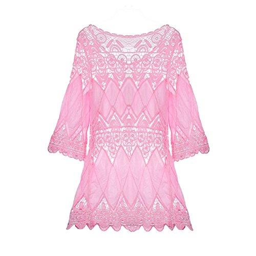 SUNNOW® Damenmode Sommerkleid Strandkleid Bademode Badebekleidung Häkeln Bikini Cover Up mit Ärmel Tunika Shirt Oberteile Pink