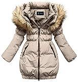 SMITHROAD Kinder Mädchen Winterjacke mit Kunstpelz Tailliert Lang Jacket Wintermantel Parka Oberbekleidung,Beige,EU 134-140,Herstellergröße 140
