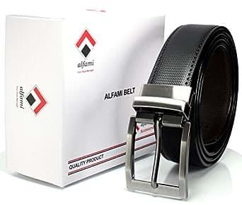 alfami Men's Leather Reversible Belt (Alb35-Rs-01_Black/Brown_Free Size)